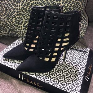 Nicole Miller Black Faux Suade Cage Heeled Booties